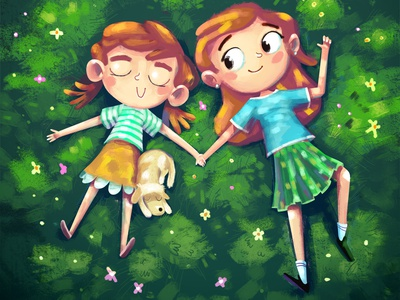 Róza, Háňa a tajný život lesa nature sisterhood sisters child siblings girls affinity designer applepencil procreate children book illustration childrens book fairytale cover book illustration