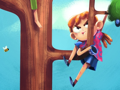 Róza, Háňa a tajný život lesa colorful teen child girl countryside tree pencil affinitydesigner affinity procreate book cartoon illustration