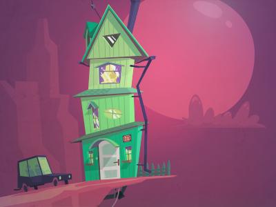 Living on the edge illustration cartoon low poly green house edge car