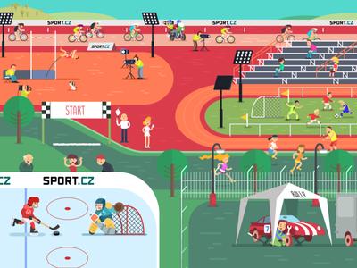 Sport - Seznam.cz czech cech jagr sport vector seznam xara illustration flat