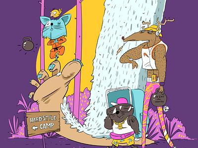 HARDSTYLE CAMP hardstyle camp purple kettlebell cat mole deer