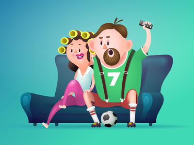 Digi.TV Dad, Mum illustration advert television sport cartoon digi2go tv digi