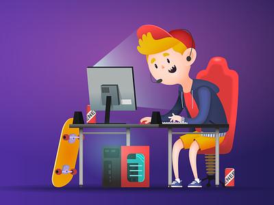Digi.TV Son illustration progamer gaming online tv television sport digi2go digi cartoon advert