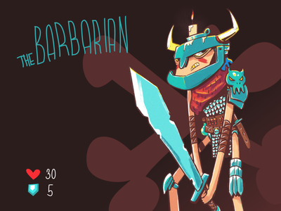 The Barbarian - boardgame card defence health illustration cartoon barbarian board tabletop