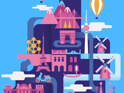 EU - Evropský dům ipad pro ipad affinitydesigner branding design illustration flat vector