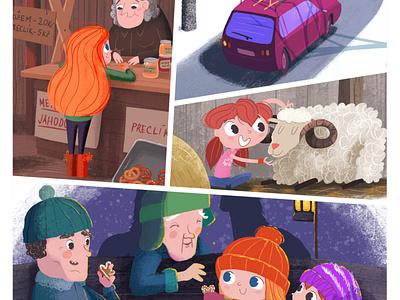 Emin vánoční deník childrens book book pencil ipad procreate illustraion