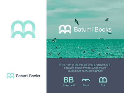 Batumi Books mark sea seagull book ui grid symbol tsverava georgia concept monogram design logo