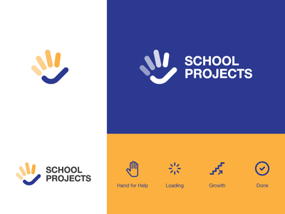 School Projects steps fingers development school projects done growth loading help hand mark ui logo design symbol tsverava georgia concept design monogram logo