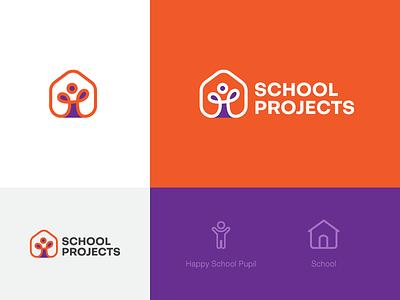 School Projects development grants study building happy pupil school project school symbol ui mark logo design tsverava georgia concept design monogram logo