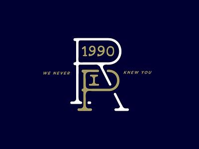RIP 1990 branding rip wip handlettering type design 1990 monogram