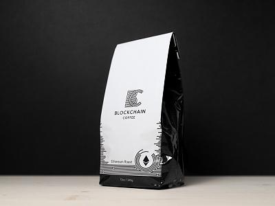 Blockchain Coffee packaging logo design logo identity coffee branding blockchain