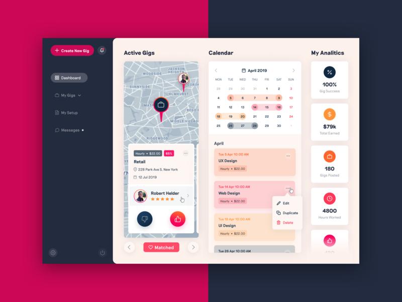 Gigs App Dashboard jobs widgets product design uxui map sidebar menu sidebar icons design ui ux dashboard app gigs
