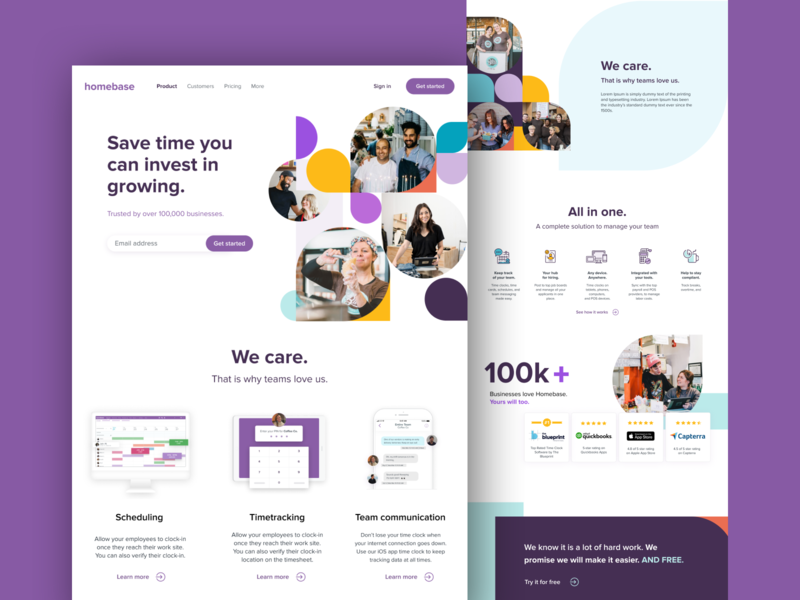 Homebase new homepage time tracking scheduling time save time work marketing marketing site lamnding page landingpage startups web webdesign branding icons website ux ui design