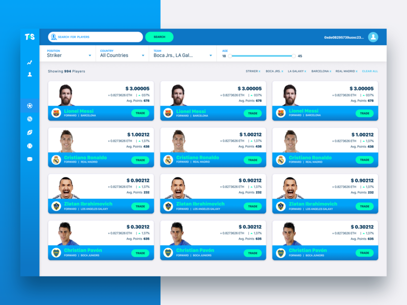 Trade Virtual Stocks of Your Favorite Athletes browse icons branding website ux ui design trading platform trading stock profiles soccer sports players cards