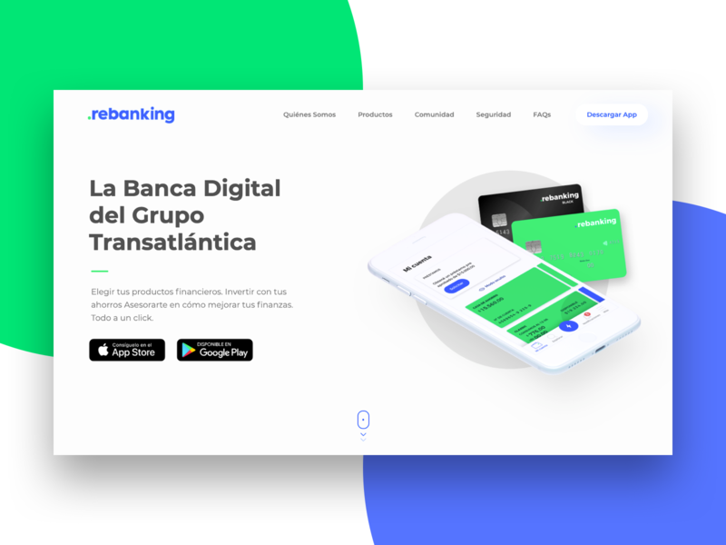 Fintech Landing Page marketing site rebanking banking bank digital banking fintech product design product blue green web illustration animation webdesign logo branding website ux ui design