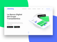 Fintech Landing Page marketing site rebanking banking bank digital banking fintech product design product blue green web illustration animation webdesign logo branding website ux ui design