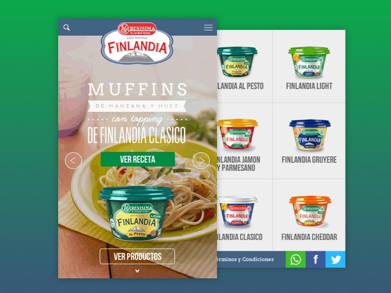 Finlandia Mobile finlandia green web website food recipes recetas responsive design mobile