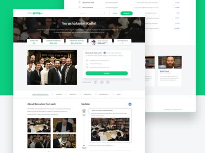 Giving Platform design ux ui users desktop buttons green platform app donate donation giving