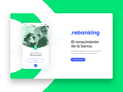 Rebanking Landing Page app green ui logo website branding webdesign design ux uid banking app landingpage digitalbank digital bank landing page landing banking rebanking