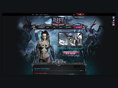 Client - Trion Worlds - Rift Landing Page branding design graphicdesign gaming website website game art