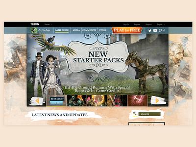 Client - Trion Worlds - ArcheAge Landing Page ui branding graphic design game art gaming website