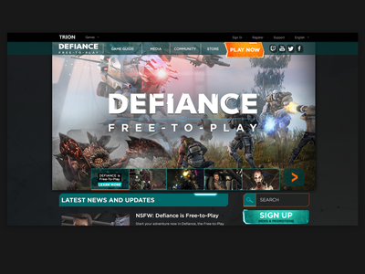 Client - Trion Worlds - Defiance Landing Page ui graphic design game art gaming website
