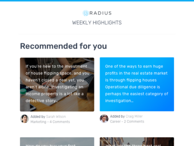 Weekly Highlights email for Network Community branding visual design email marketing