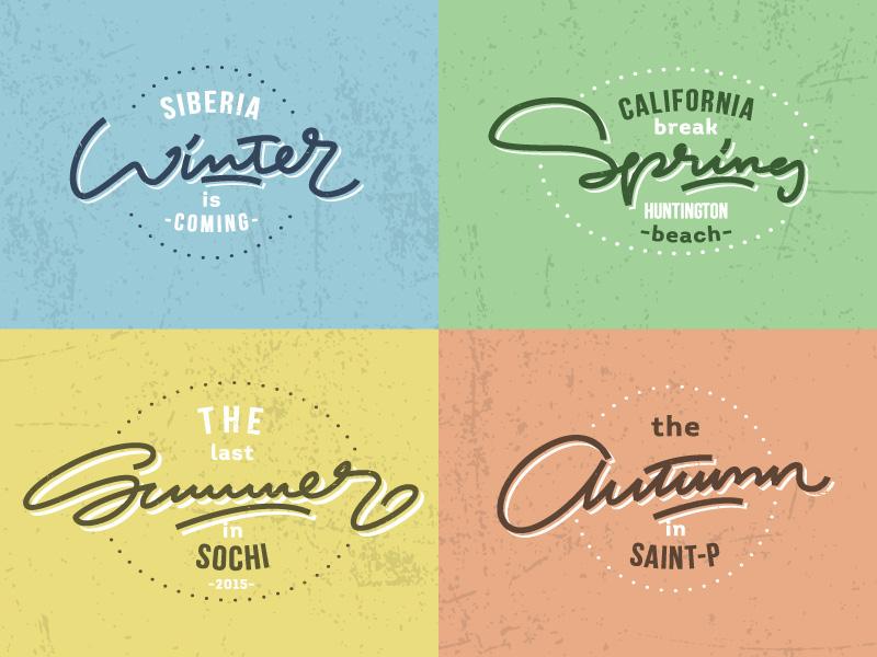Seasons! seasons autumn summer spring winter letters letter type font logo lettering calligraphy