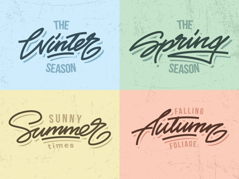 Seasons! seasons autumn summer spring winter letters letter type font logo lettering calligraphy