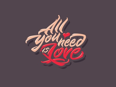 All You Need is Love love letters letter type font logo lettering calligraphy