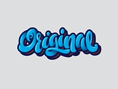 Original blue original letters letter type font logo lettering calligraphy