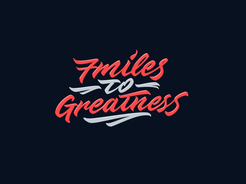 7 Miles for Greatness blue red type original logo letters lettering letter font calligraphy