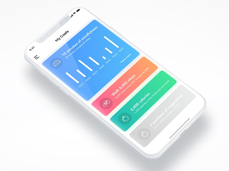 My Goals - Tracking graph medical fitness health goals ui ios mockup iphone x