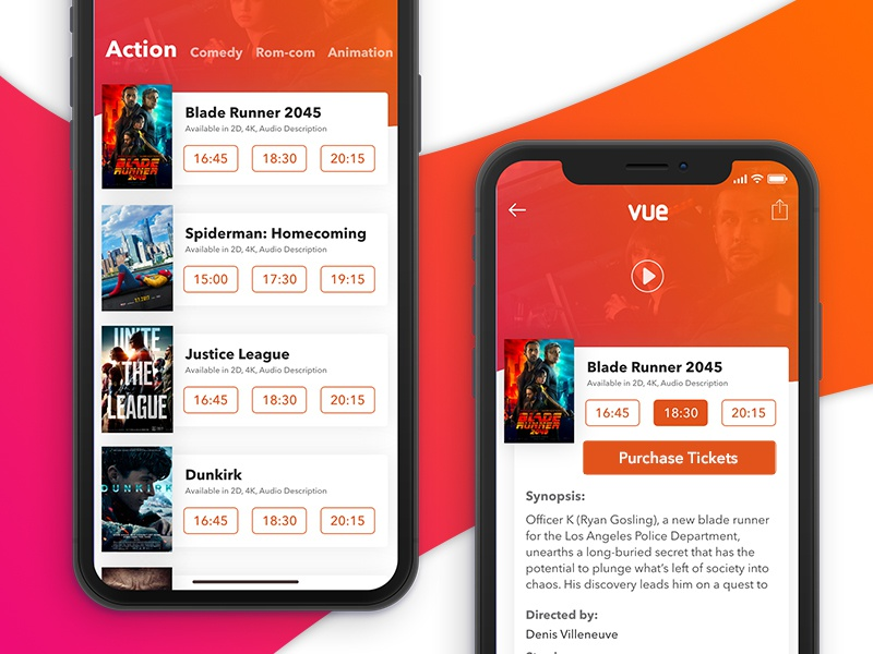 Movie Theatre App Concept app iphone x cinema movie purchase ui concept search event ticket card