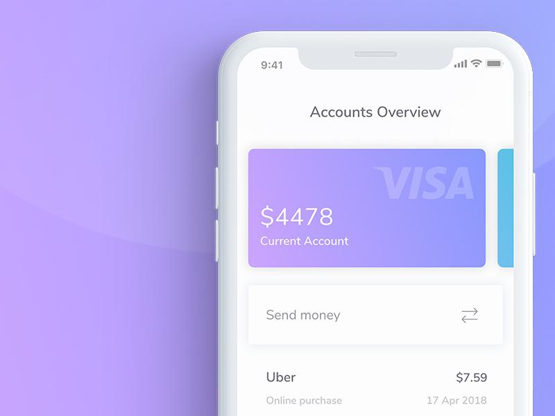 Mobile finance app - Visual exploration ux ui iphone x ios mobile cards savings transfer money profile bank fintech