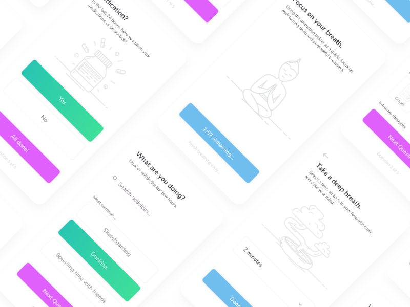 Check-in app illustration ux ui ios app check medical anxiety depression health mental