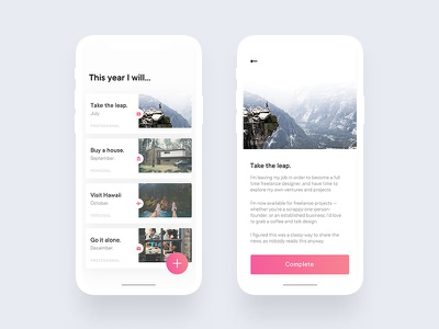 Goals app success complete brand product ux ios reflection to do goals