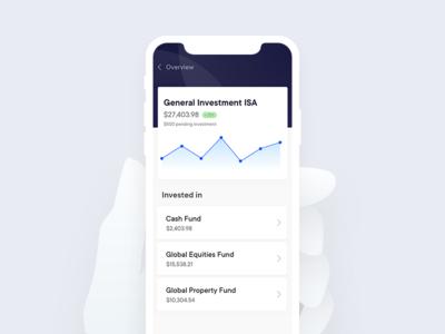 Investment app mockup