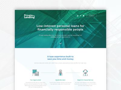 Private Lending loans money design web page landing lending private