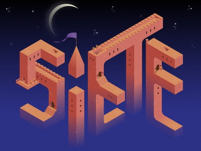 7 lettering valley monument ruido noise vectorial 2d ilustration isometric seven