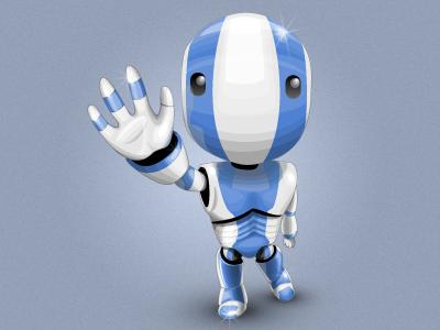Cute Robot robot illustration blue vector aubrey hadley