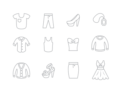 Fashion Icon Set icons fashion illustration clothes dress shirt jeans cardigan sweater icon set t shirt high heel