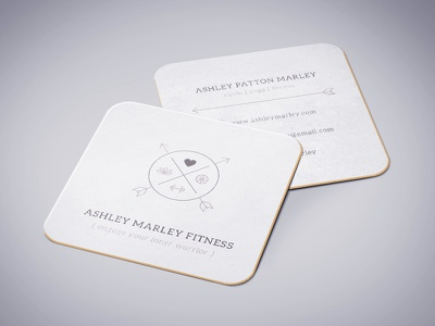 Business Card Fitness Logo square brown hipster type thin logo card business