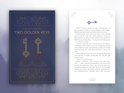 Two Golden Keys blood flourish two gold purple novel graphic key print story book cover