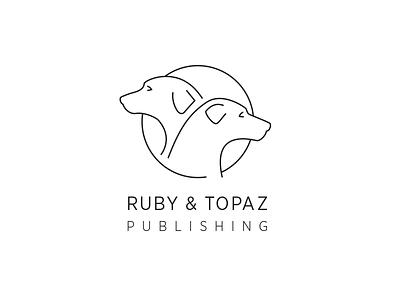 Ruby & Topaz Publishing vector animal novel print books thin line dogs dog logo