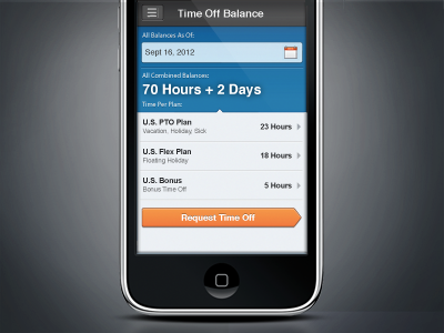 Request Time Off Business App iphone workday request button design vector business time off app ui aubrey hadley