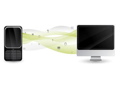Phone and Computer Talk vector drawing information exchange data bit computer phone bluetooth aubrey hadley