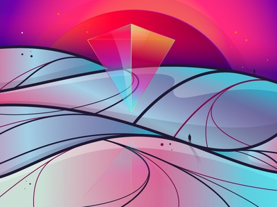 Alone in the dune #4 shapes landscape illustrator illustration digital design abstract