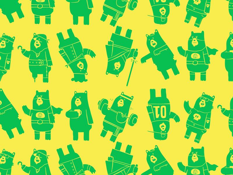 Bear Pattern bear pattern character design illustration branding