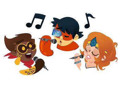 Super Heroes singing sing character super hero